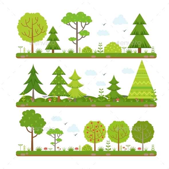 Vector Landscape Set with Forest Trees and Other - Organic Objects Objects