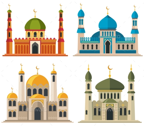 Arabic Muslim Mosques and Minarets - Buildings Objects