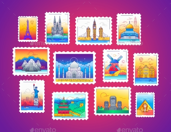 Stamps - Vector Line Travel Illustration - Travel Conceptual