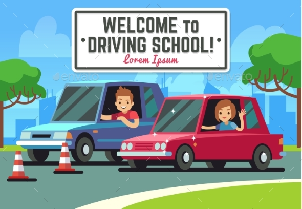 Driving School Vector Background - Miscellaneous Vectors