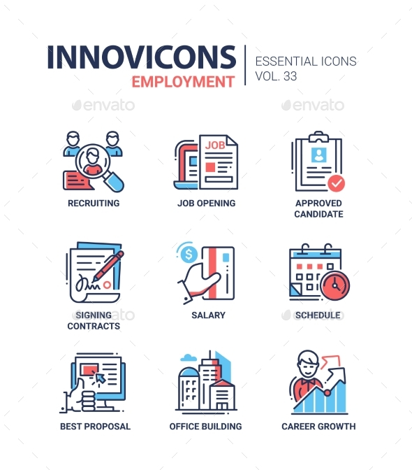 Employment- Modern Vector Line Icons Set - Concepts Business