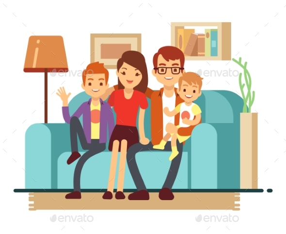 Smiling Young Family on Sofa - People Characters