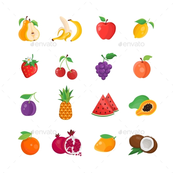 Natural Food - Modern Vector Line Icons Set - Food Objects