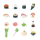 Japanese meals - vector icons set - GraphicRiver Item for Sale
