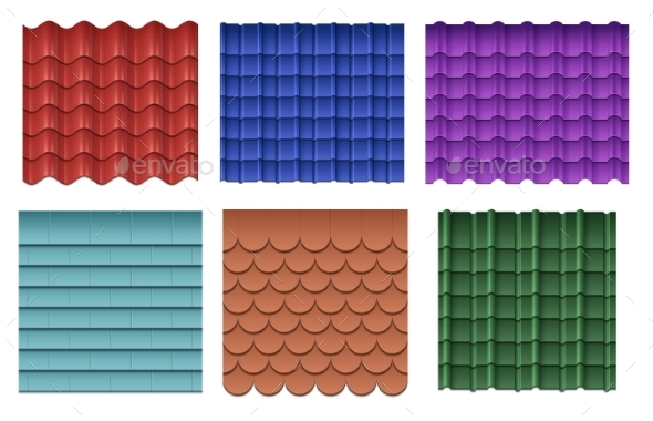 Roofing Materials Vector Set - Man-made Objects Objects