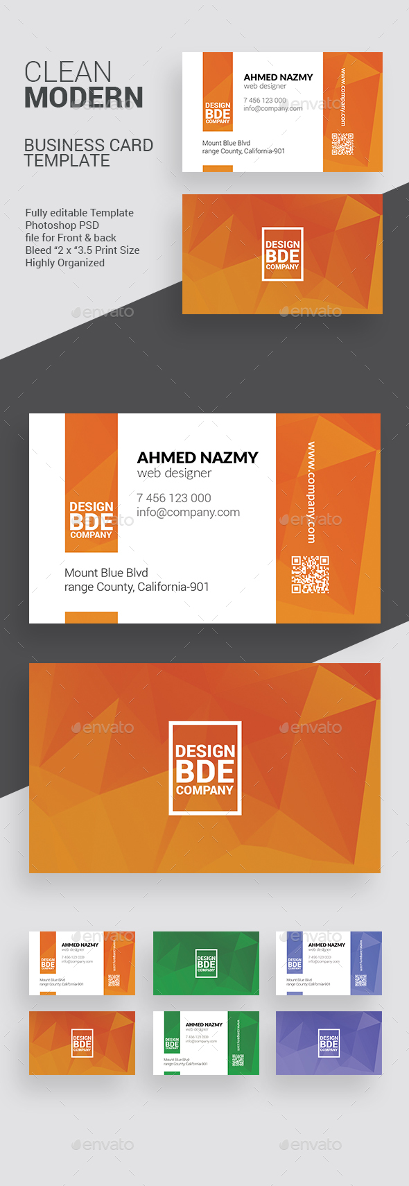 Clean Business Card Template 1 - Business Cards Print Templates