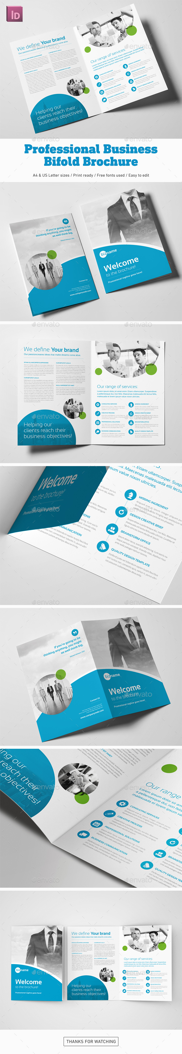 Professional Business Bifold Brochure - Corporate Brochures