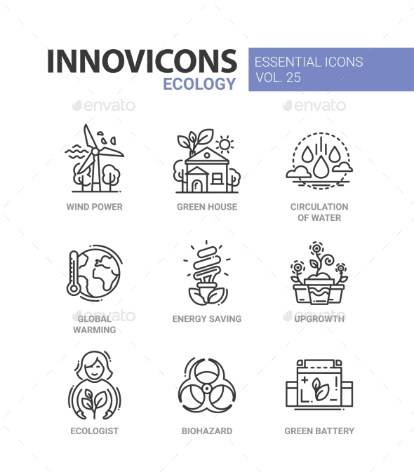 Ecology - Modern Color Vector Single Line Icon Set - Miscellaneous Conceptual