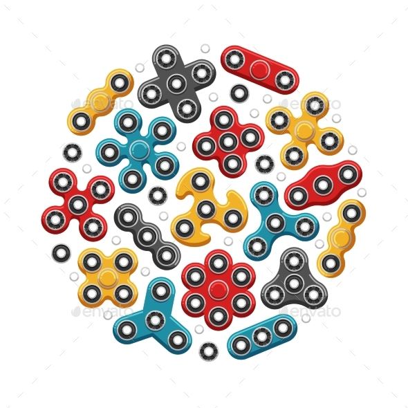 Hand Spinners or Fidget Spinner Toys Vector Icons - Miscellaneous Vectors