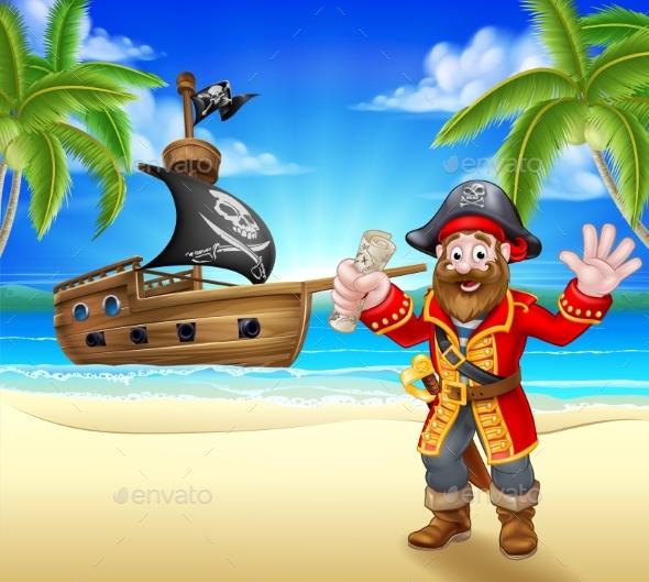 Cartoon Pirate on Beach - People Characters