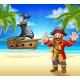 Cartoon Pirate on Beach