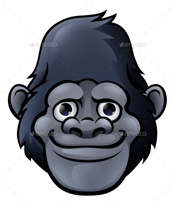 Cartoon Gorilla Face - Animals Characters