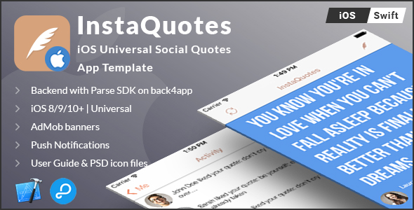 InstaQuotes | iOS Universal Social Quotes App Template (Swift) - CodeCanyon Item for Sale
