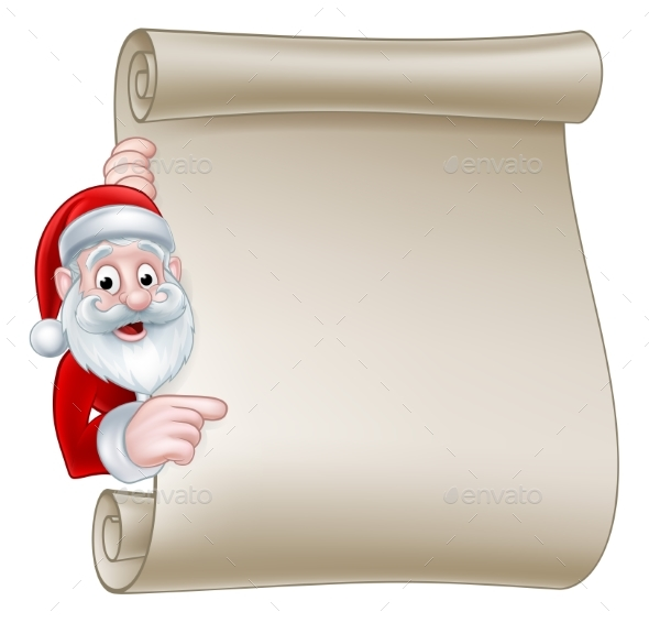 Santa Christmas Scroll Sign - Christmas Seasons/Holidays