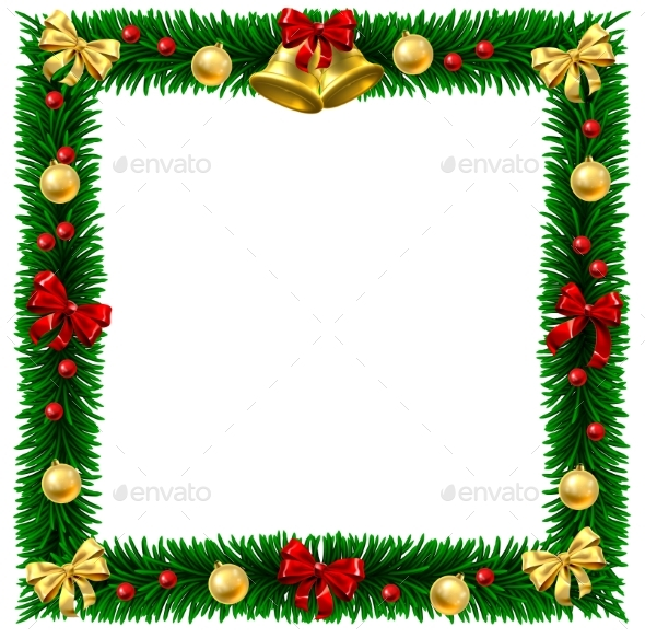 Christmas Wreath Border Frame - Borders Decorative