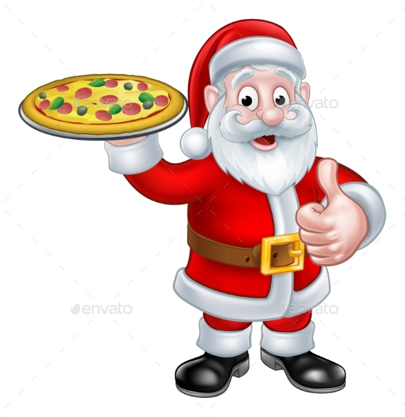 Cartoon Santa Claus Holding Pizza - Food Objects