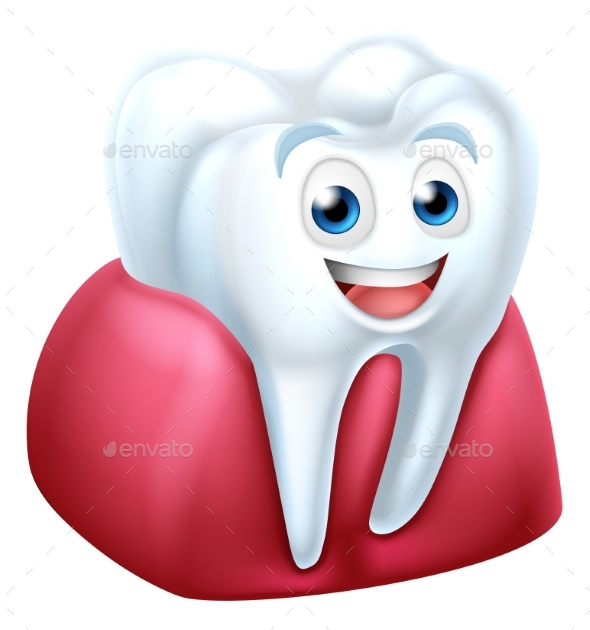 Tooth and Gum Cartoon Character - Health/Medicine Conceptual