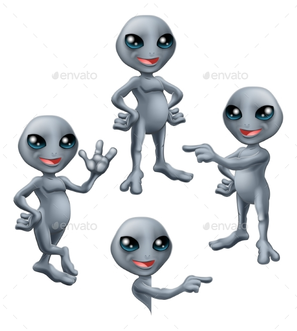 Cartoon Grey Alien Set - Miscellaneous Characters