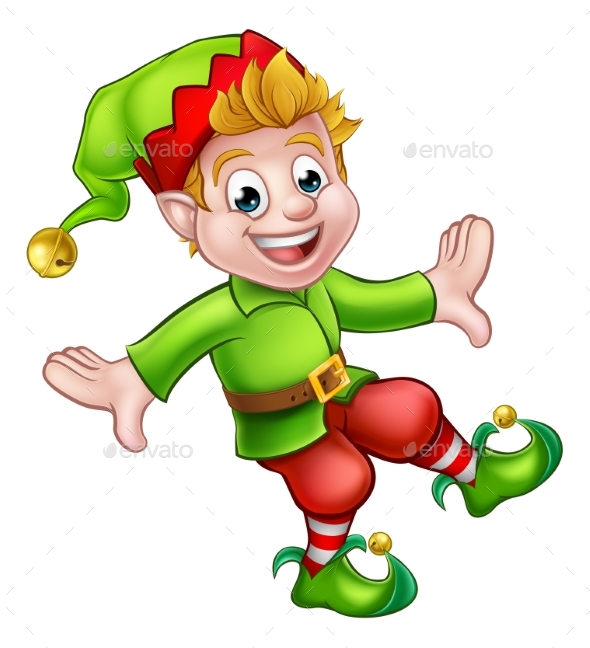 Christmas Elf Cartoon Character - Christmas Seasons/Holidays