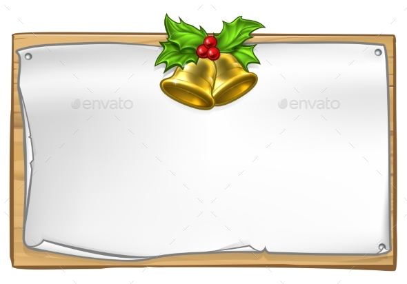 Christmas Wooden Scroll Sign - Miscellaneous Vectors