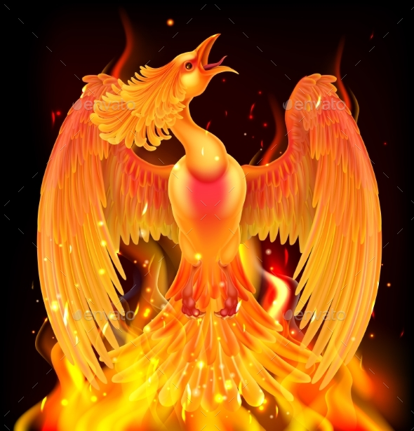 Phoenix Bird Rising From Ashes - Animals Characters