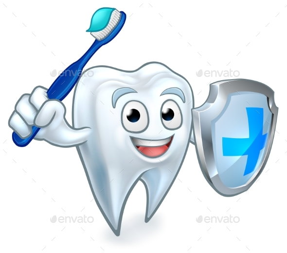 Sword and Shield Tooth Mascot - Health/Medicine Conceptual