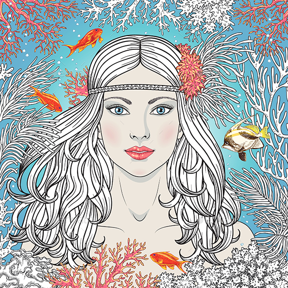 Mermaid Girl Among Corals and Fishes - People Characters