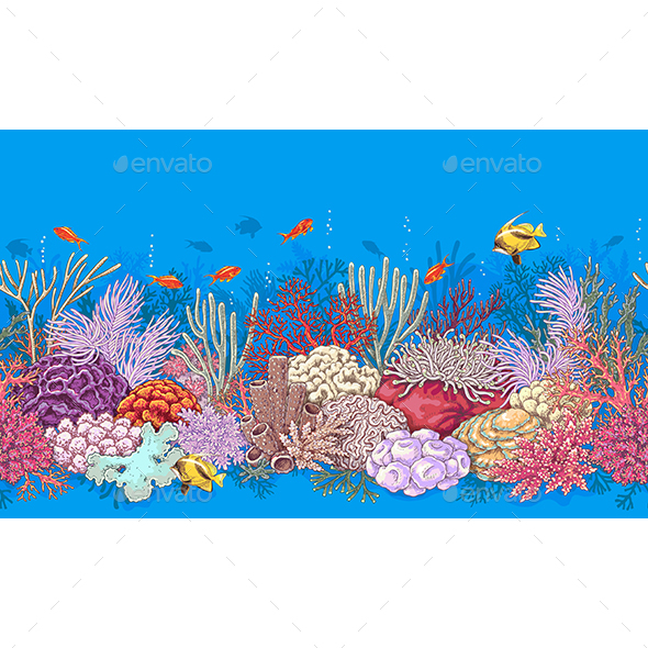 Coral Reef and Fishes Pattern - Landscapes Nature