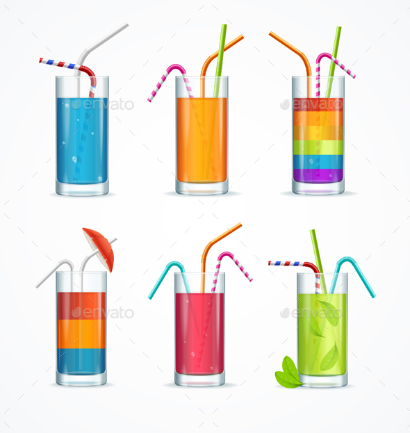 Realistic Cocktail Glass Template Drink Set - Food Objects