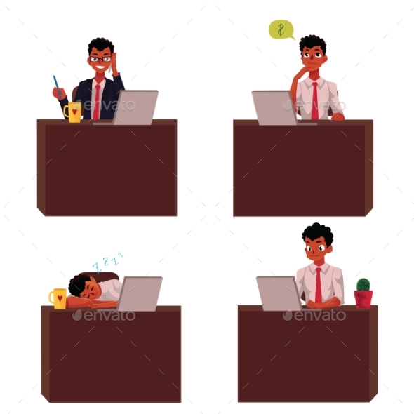 Businessman Sitting at Desk - People Characters