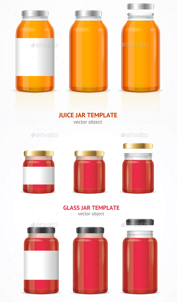 Realistic Glass Jar Template Set - Food Objects
