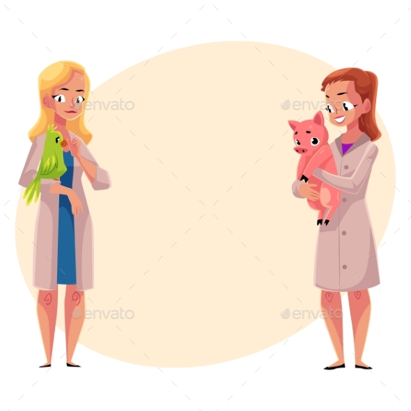 Female Veterinarians Vets in Medical Coats - People Characters