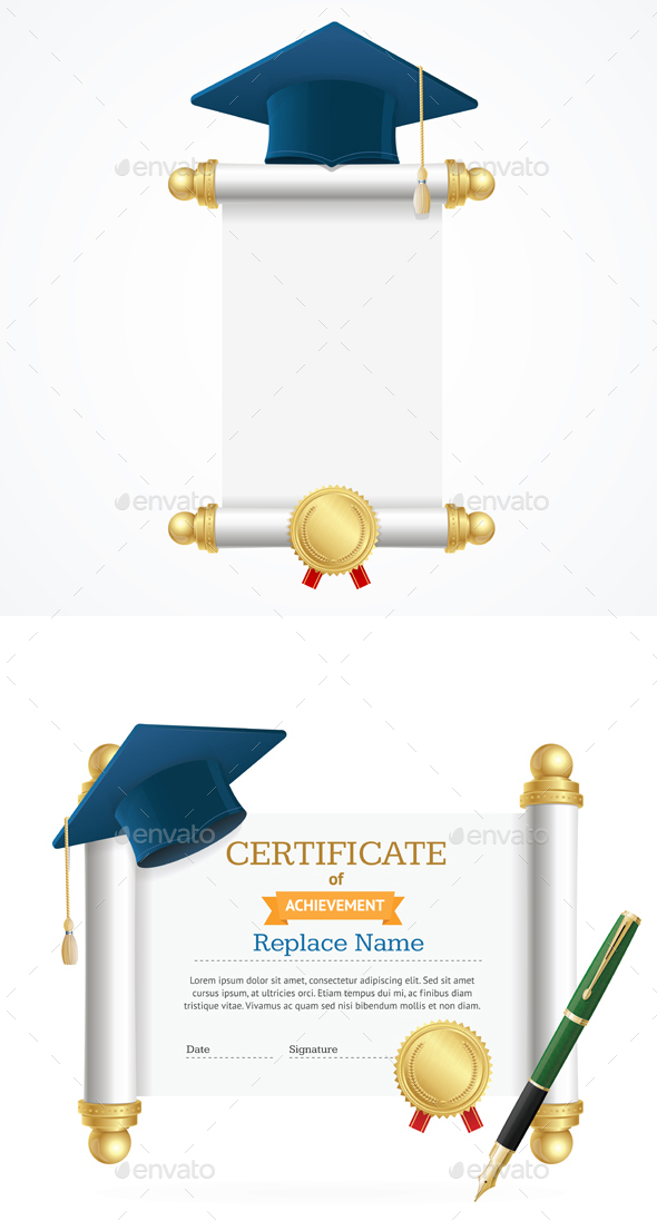 Graduated Cap Student and Roll Certificate - Man-made Objects Objects