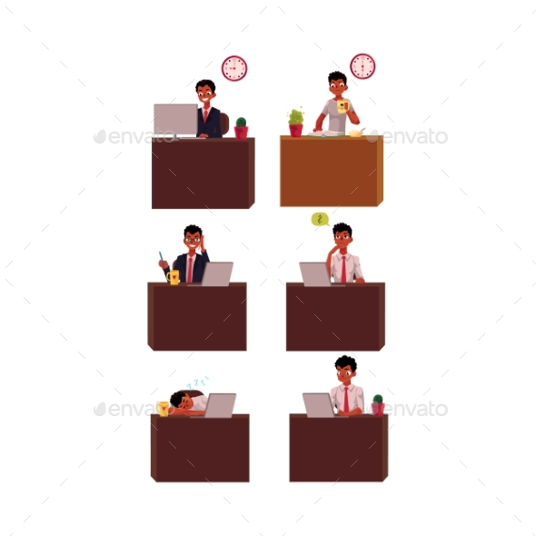 Businessman Working Day - People Characters