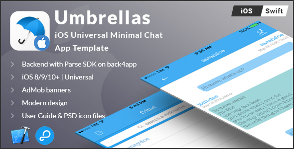 Umbrellas | iOS Universal Minimal Chat App Template (Swift) - CodeCanyon Item for Sale