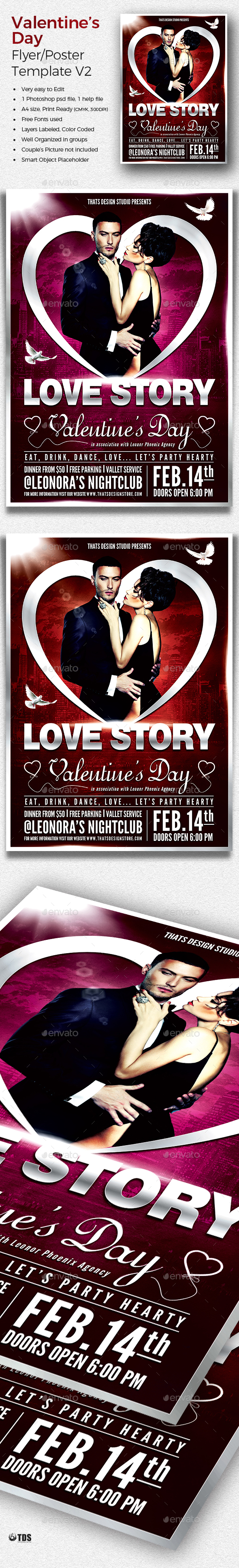 Valentines Day Flyer Template V2 - Clubs & Parties Events