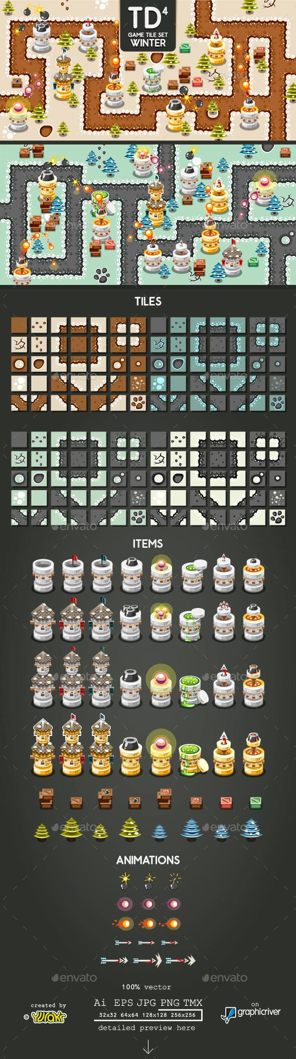 Tower Defence Game Tile Set Four - Tilesets Game Assets