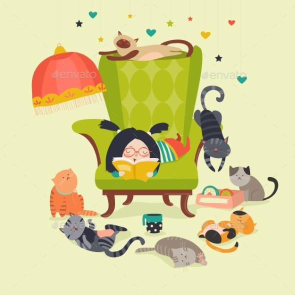 Girl Reading Book to Cats - Miscellaneous Vectors