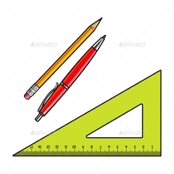 Angle Ruler Pen and Pencil - Miscellaneous Vectors
