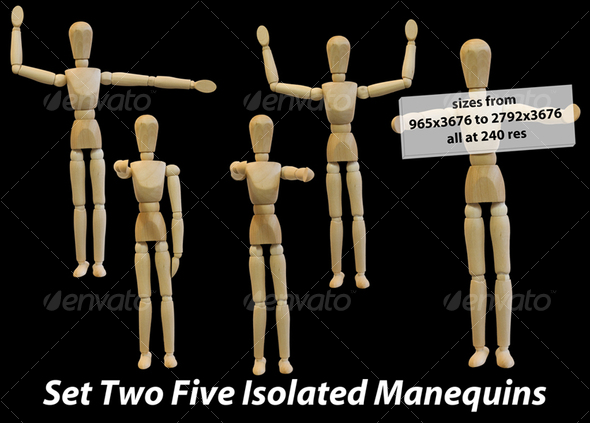 Five Isolated Artist Wood Models/Mannequins (set 2) - Activities & Leisure Isolated Objects