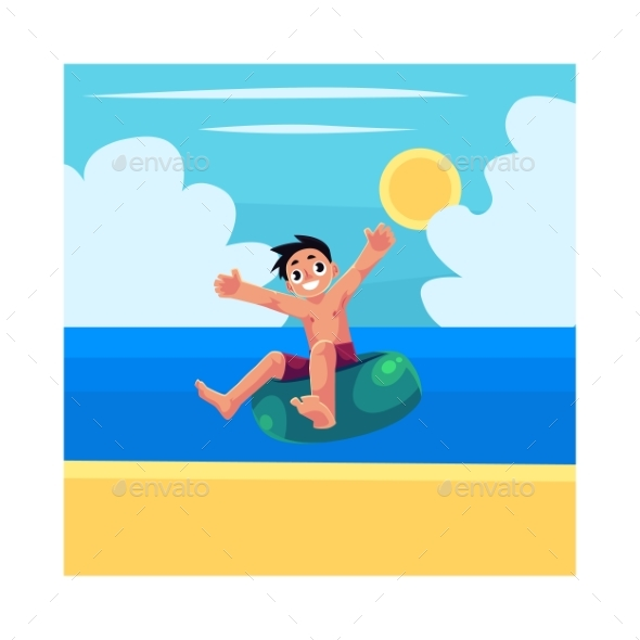 Child Riding Swim Ring and Enjoying Summer - Sports/Activity Conceptual