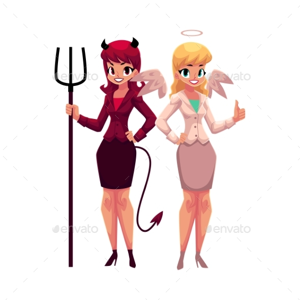 Female Angel and Devil in Business Suits - People Characters