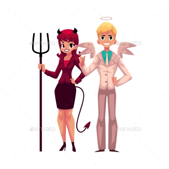 Male Angel and Female Devil Characters - People Characters