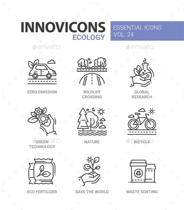 Ecology - Modern Color Vector Single Line Icons - Flowers & Plants Nature