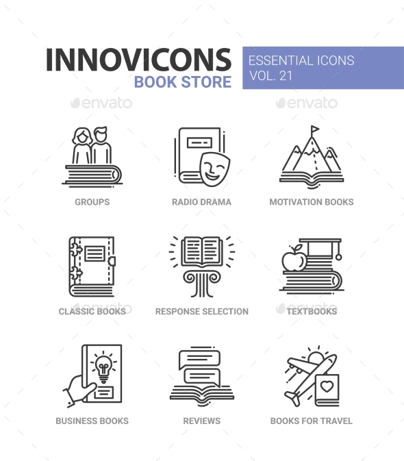 Book Store - Modern Color Vector Single Line Icons - Miscellaneous Vectors