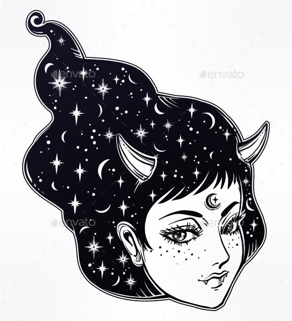 Yokai - Demon Woman in Asian Folklore Illustration - Miscellaneous Characters