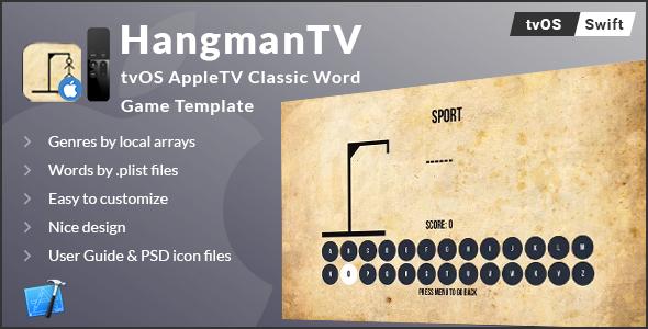 Hangman TV - tvOS AppleTV Word Game Template (Swift) - CodeCanyon Item for Sale