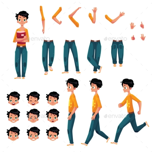 Student Young Man Character Creation Set - People Characters