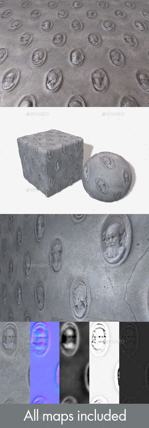 Sculpted Heads Wall Seamless Texture - 3DOcean Item for Sale