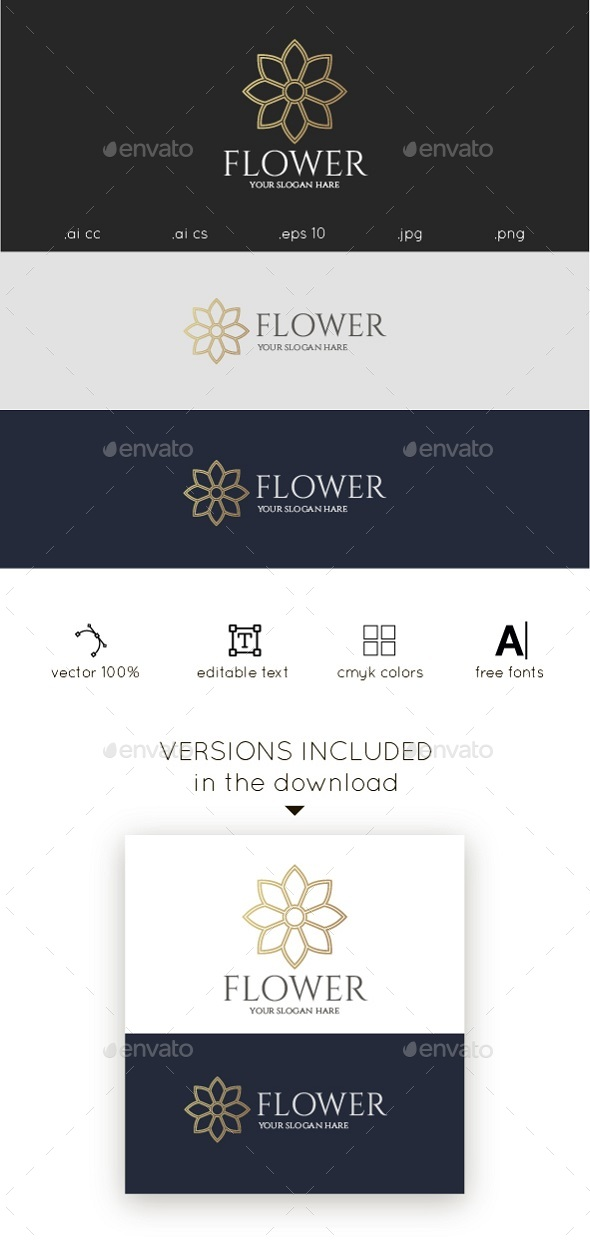 Gold Flower Logo - Nature Logo Templates